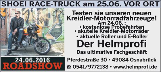 Anzeige Shoei Race Truck vor Ort